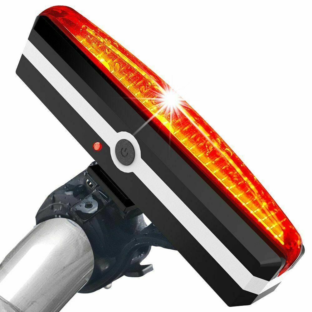 USB Rechargeable Bike Rear Tail Light LED Bicycle Warning Safety Smart Lamp BE