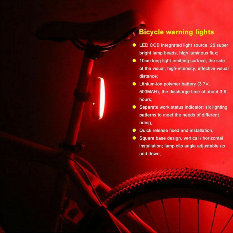 USB Rechargeable Bike Rear Tail Light LED Bicycle Warning Safety Smart Lamp USA