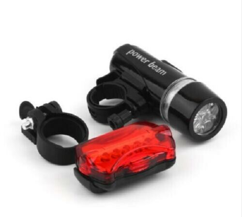 5 LED Lamp Bike Bicycle Front Head Light + Rear Safety Flashlight