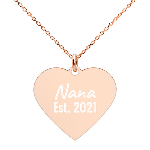 Rose Gold Nana Heart Necklace Engraved with Established 2021 Date - vauus