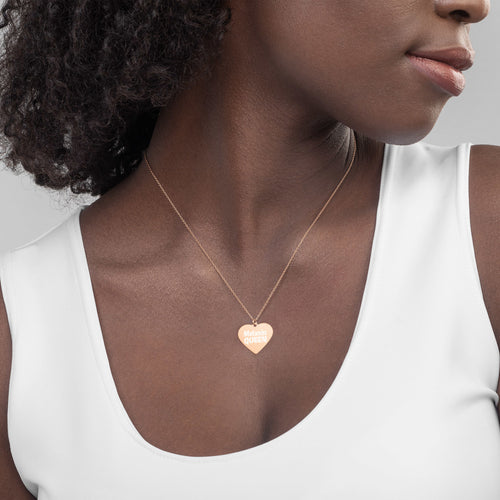 Melanin Queen Engraved Rose Gold Heart Necklace for African American Black History Month - vauus