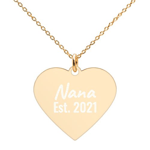 Nana Est 2021 Gold Engraved Heart Necklace With Established Date Pendant - vauus