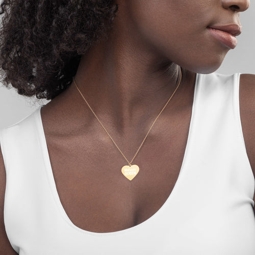 Melanin Queen Gold Heart Necklace for African American Black History Month Engraved Jewelry - vauus
