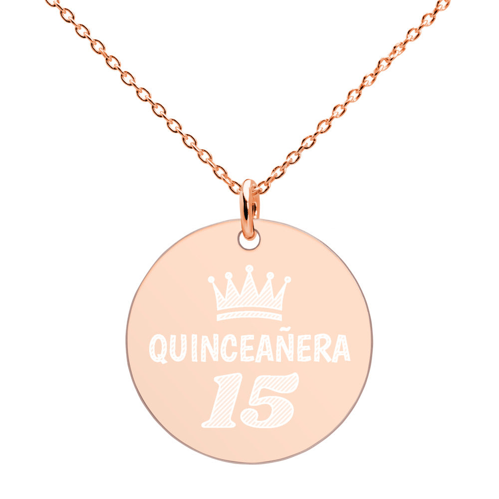 Quinceañera Rose Gold Disc Necklace Engraved 15th Birthday Jewelry - vauus