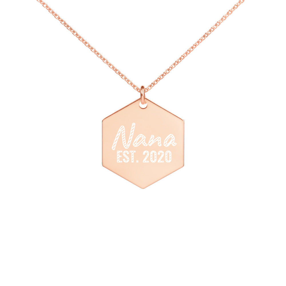 Rose Gold Nana Necklace Engraved with Established 2020 Date - vauus