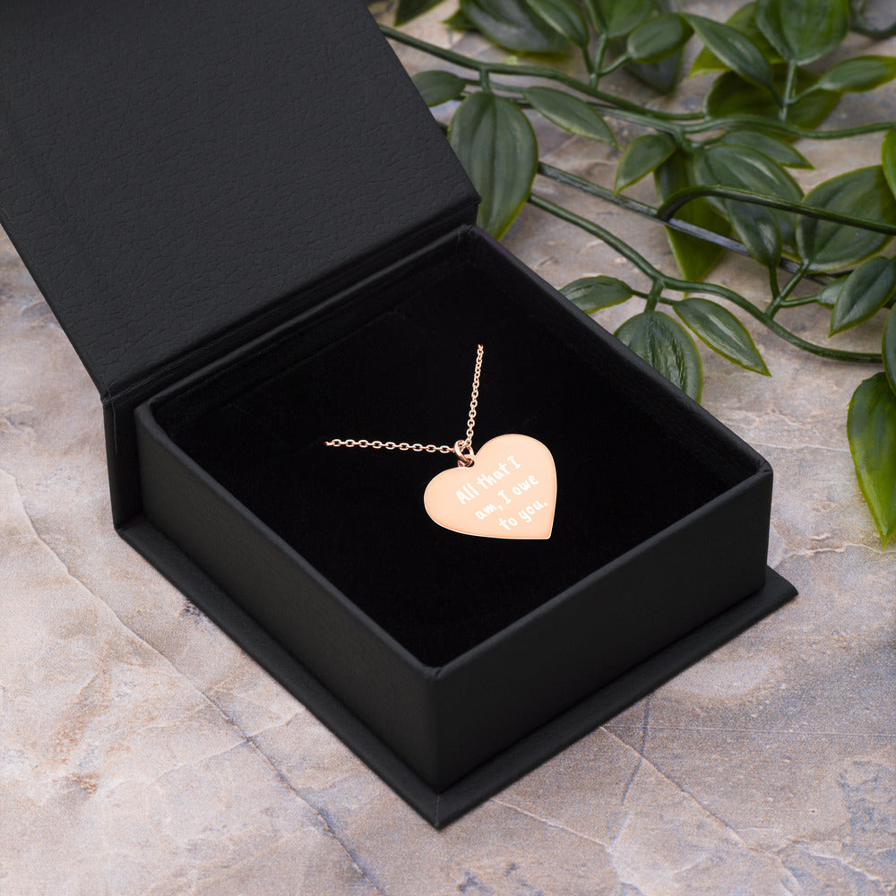 All that I am I owe to You Engraved Rose Gold Heart Necklace Thank You Jewelry - vauus