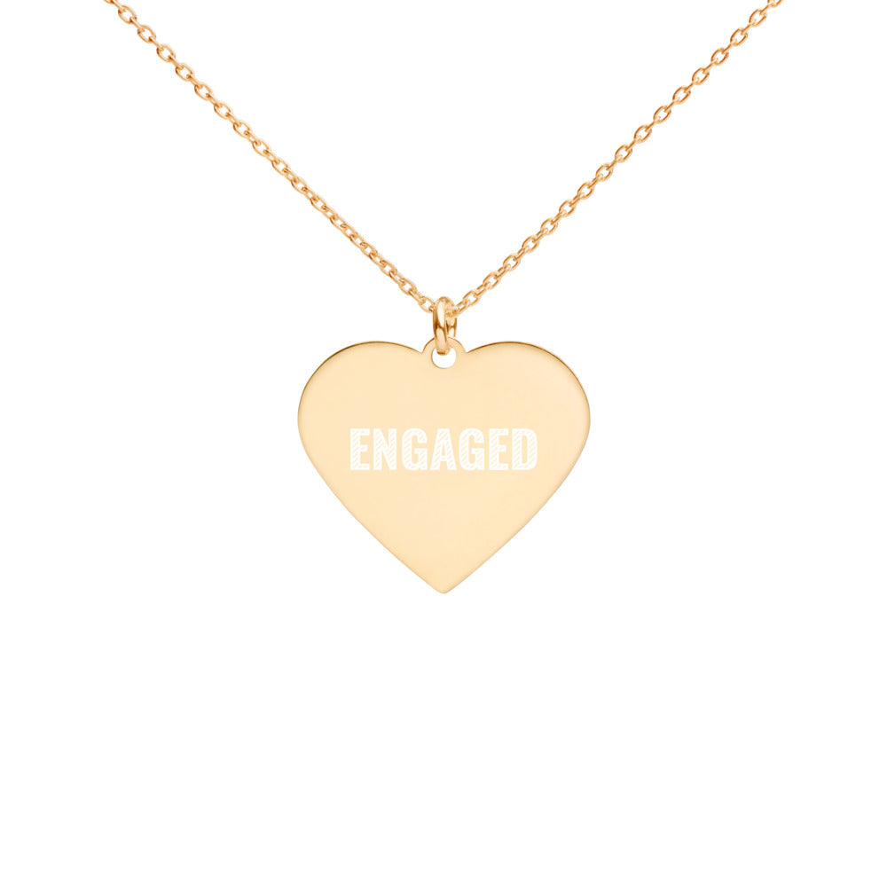 Engaged 24K Gold Heart Necklace Engraved Engagement Jewelry - vauus