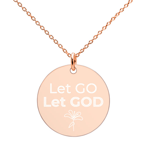 Let Go Let God Necklace Engraved Disc Religious Jewelry - vauus