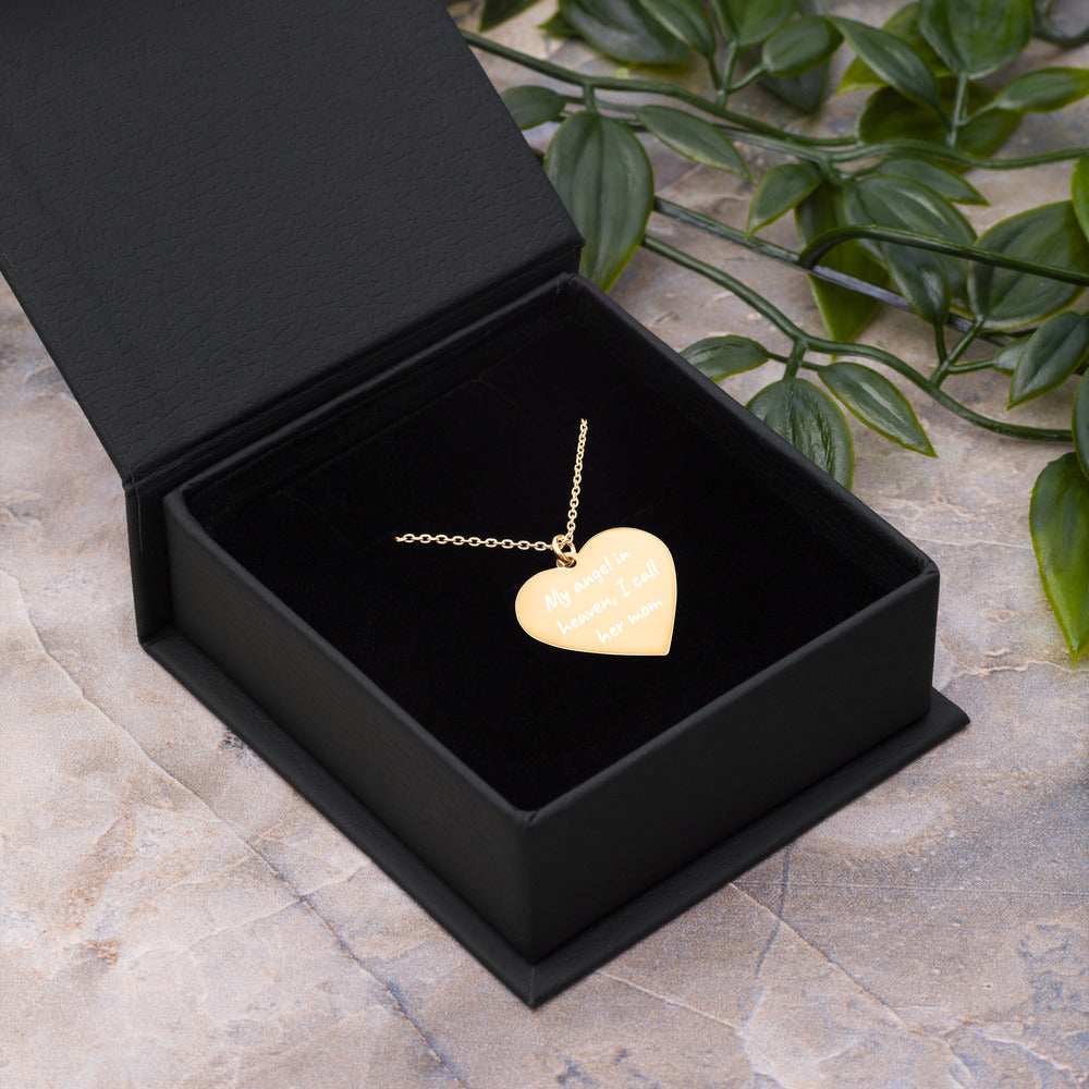 My Angel in Heaven I Call Her Mom Engraved Gold Remembrance Heart Necklace - vauus