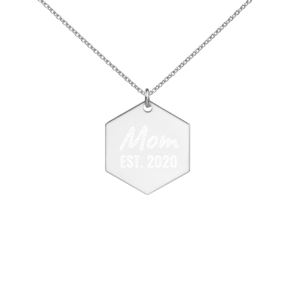 Sterling Silver New Mom Necklace with Established 2020 Engraved Date - vauus