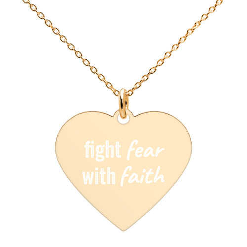 Fight Fear with Faith Engraved Religious Gold Heart Necklace - vauus