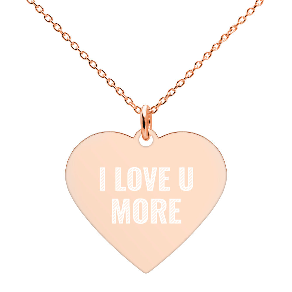 I Love U More Engraved Rose Gold Heart Necklace - vauus