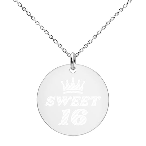 Sweet 16 Engraved Birthday Necklace in Sterling Silver - vauus