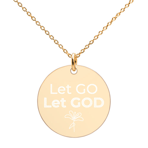 Let Go Let God Gold Necklace Engraved Disc Religious Jewelry - vauus