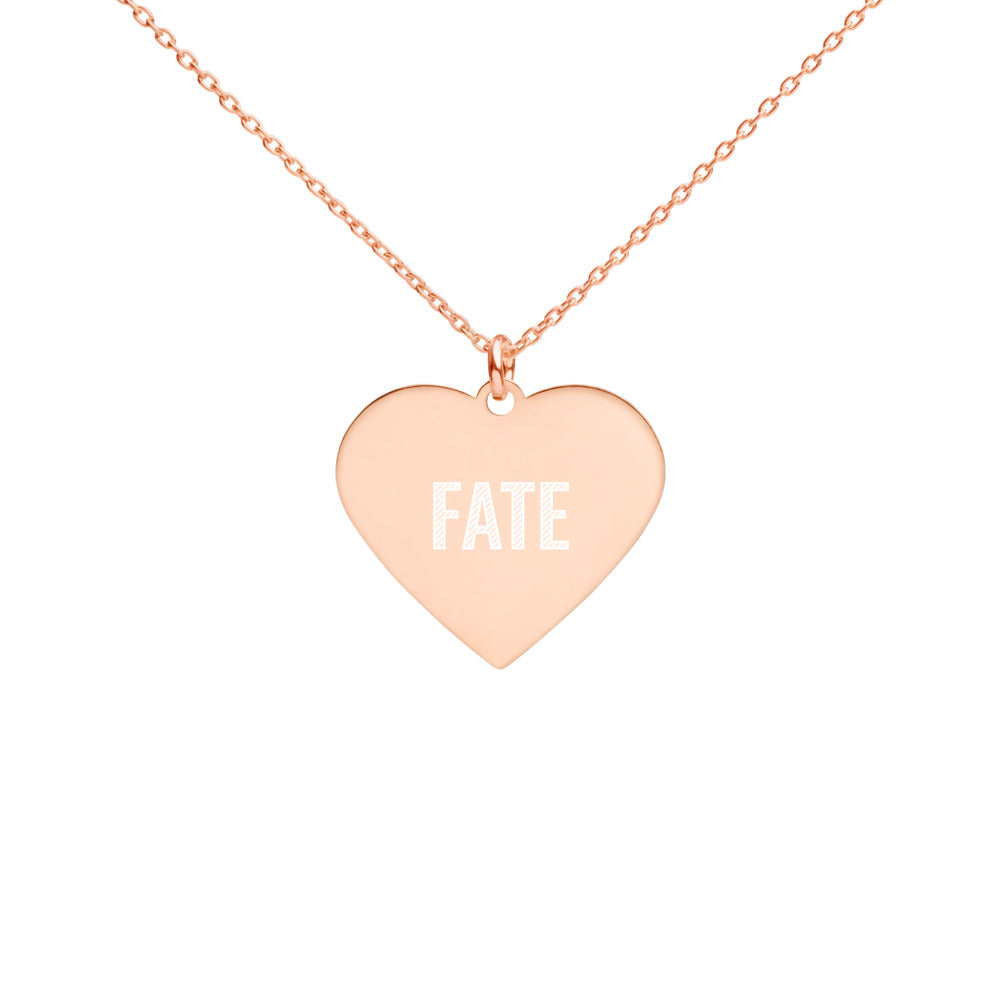 Fate Heart Charm Necklace Engraved in Rose Gold for Girlfriend - vauus