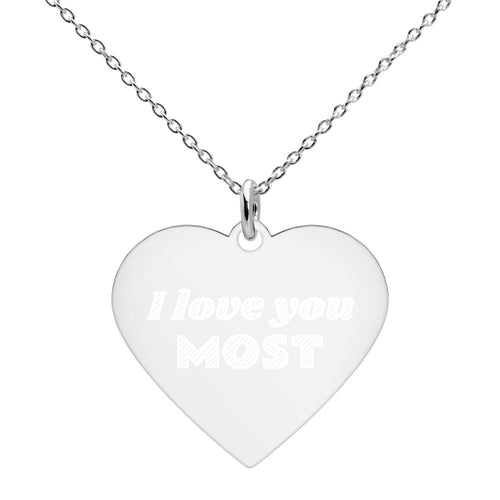 I Love You Most Heart Necklace Engraved in Sterling Silver - vauus