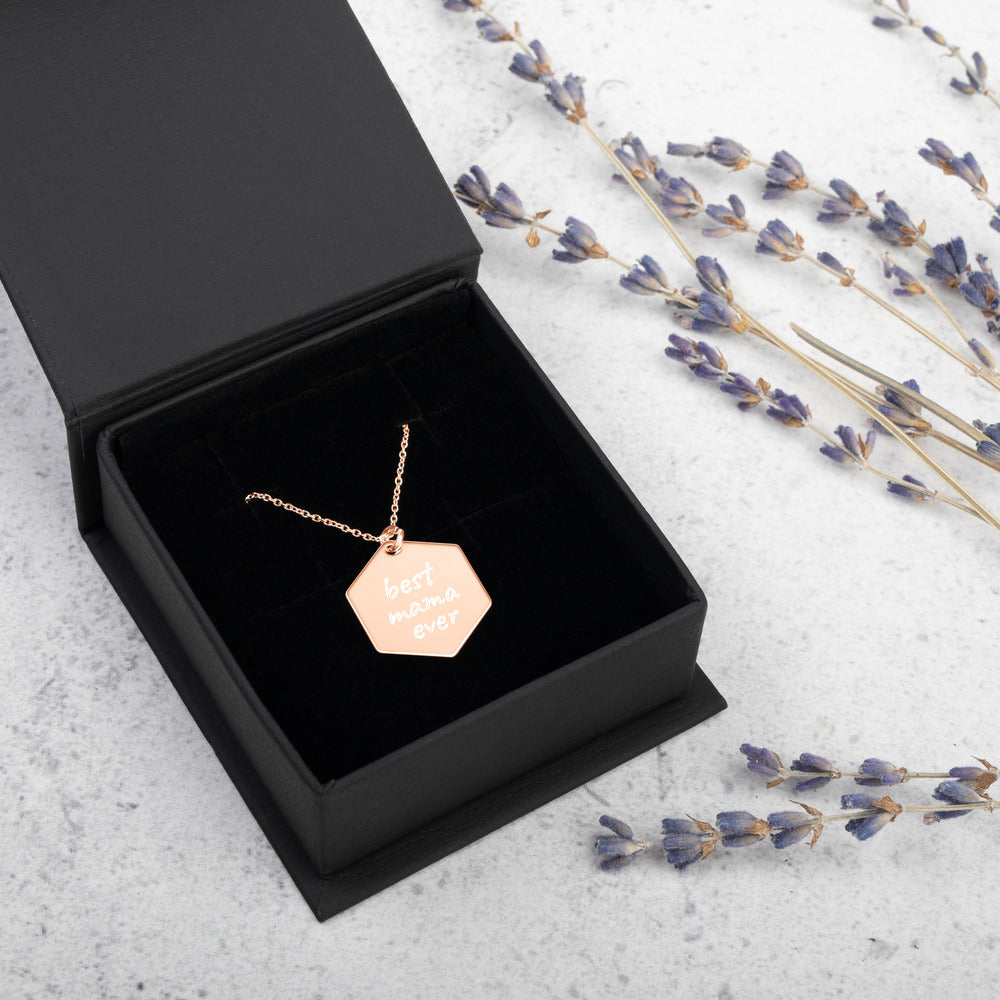 Best Mama Ever Engraved Rose Gold Necklace - vauus