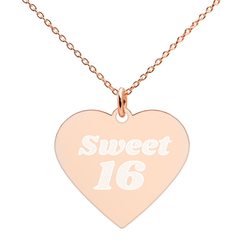 Sweet 16 Heart Necklace Engraved Rose Gold 16th Birthday Jewelry - vauus