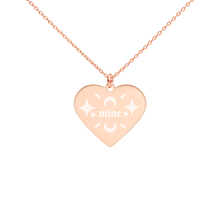 Load image into Gallery viewer, Mine Rose Gold Heart Necklace Engraved Jewelry Gift for Girlfriend - vauus