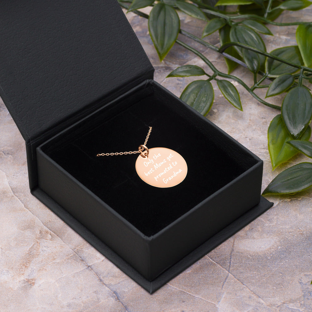 Only the Best Moms Get Promoted to Grandma Engraved Rose Gold Disc Necklace - vauus