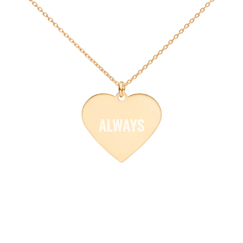 Always Gold Heart Charm Necklace Engraved for Women - vauus