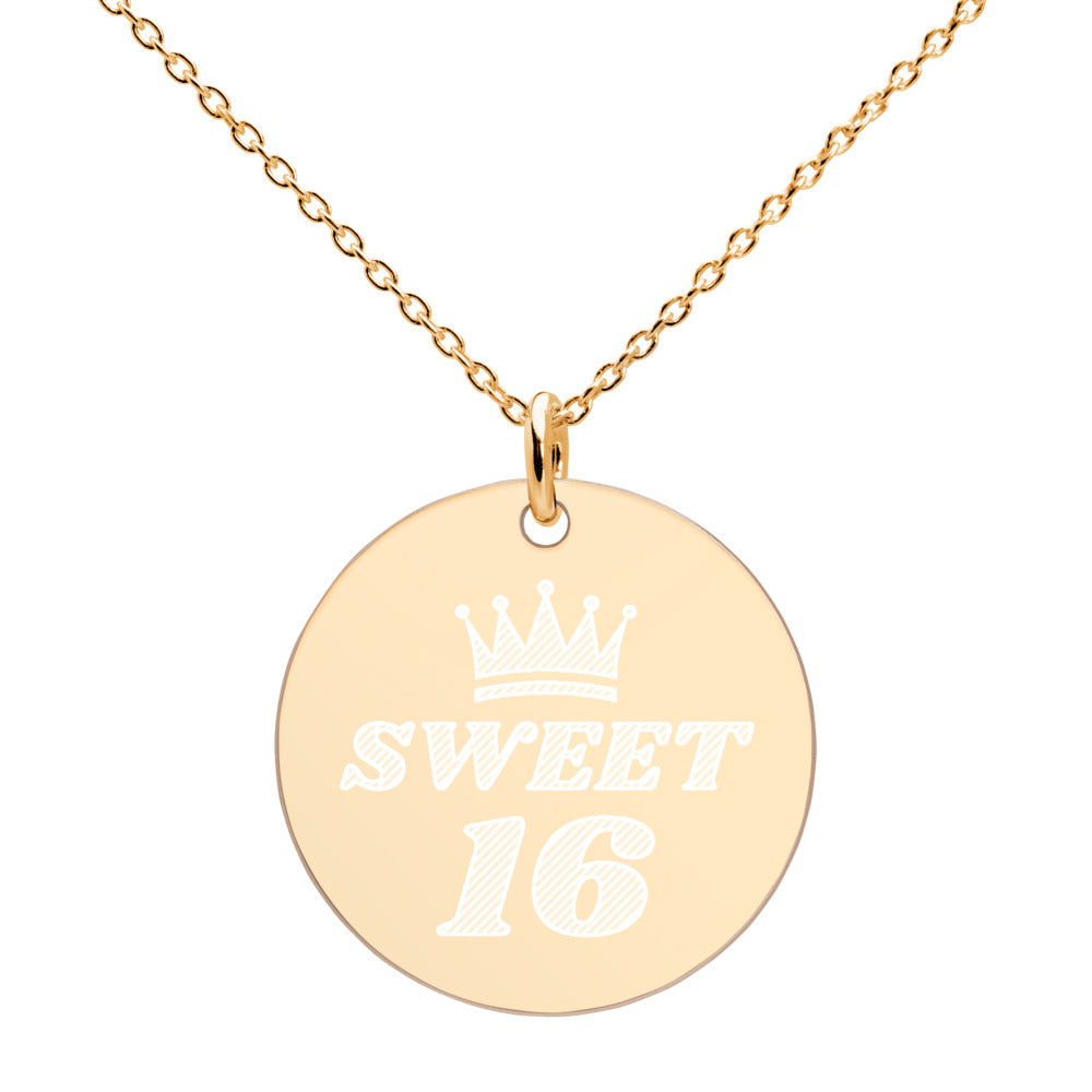 Sweet 16 Queen Crown Gold Disc Necklace Engraved Birthday Jewelry - vauus