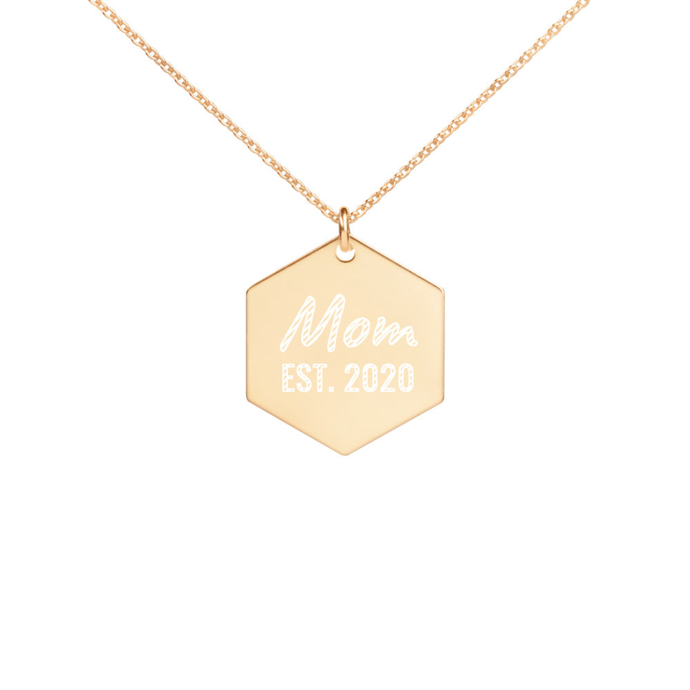 Mom Est 2020 Gold Engraved Necklace - vauus