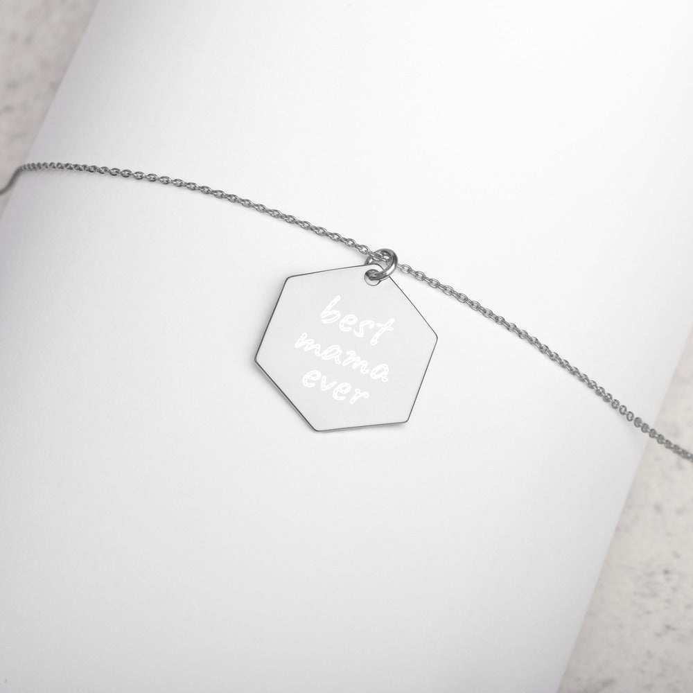 Best Mama Ever Engraved Sterling Silver Necklace - vauus