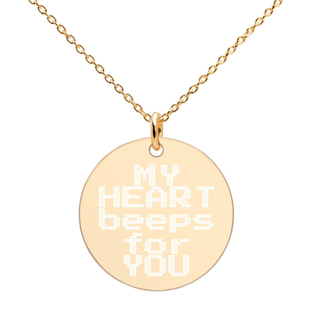 My Heart Beeps For You Gold Disc Necklace Engraved Gamer Jewelry - vauus