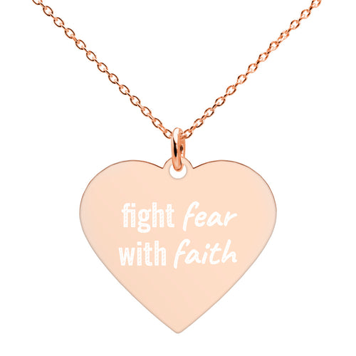 Fight Fear With Faith Heart Necklace Rose Gold Engraved Religious Jewelry - vauus