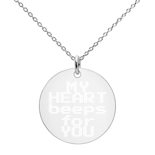 My Heart Beeps For You Sterling Silver Disc Necklace Engraved Gamer Jewelry - vauus