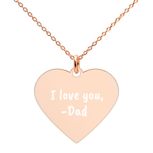 I Love You from Dad Rose Gold Heart Necklace Engraved Jewelry for Daughter - vauus