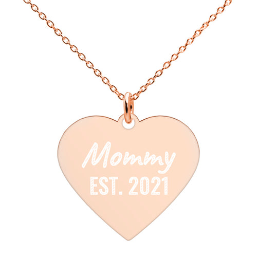Mommy Est 2021 Rose Gold Heart Necklace Engraved Jewelry for New Mom - vauus