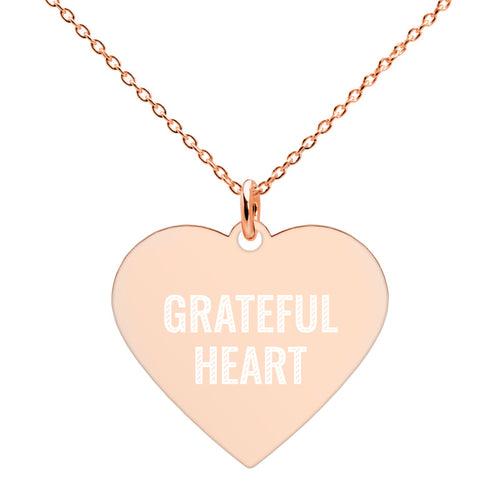 Grateful Heart Engraved Rose Gold Necklace Gratitude Jewelry - vauus