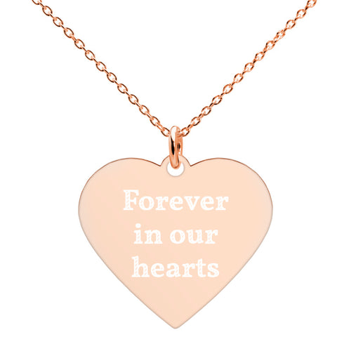 Forever in Our Hearts Rose Gold Heart Necklace Enraved Memorial Jewelry - vauus