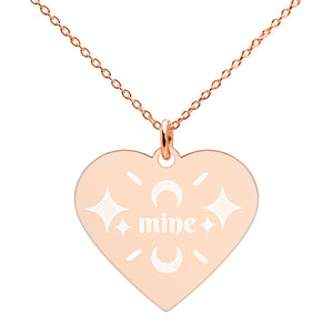Mine Rose Gold Heart Necklace Engraved Jewelry Gift for Girlfriend - vauus