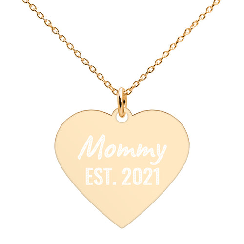 Mommy Est 2021 Gold Heart Necklace Engraved Jewelry for New Mom - vauus