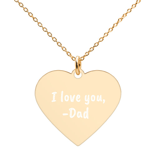 I love You Dad to Daughter Engraved Gold Heart Necklace - vauus