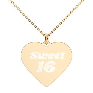 Sweet 16 24K Gold Heart Necklace Engraved 16th Birthday Jewelry - vauus