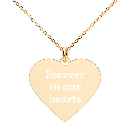 Forever in Our Hearts Gold Remembrance Necklace Engraved Memorial Jewelry - vauus
