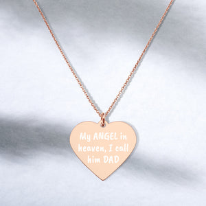 My Angel in Heaven I Call Him Dad Engraved Rose Gold Memorial Heart Necklace - vauus