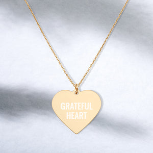 Grateful Heart Engraved Gold Heart Necklace Gratitude Jewelry - vauus
