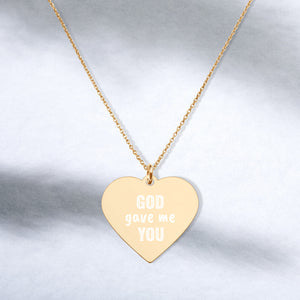God Gave Me You Gold Heart Necklace Engraved Mother to Daughter Jewelry - vauus