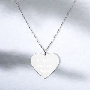All that I am I owe to You Engraved Sterling Silver Heart Necklace Thank You Jewelry - vauus