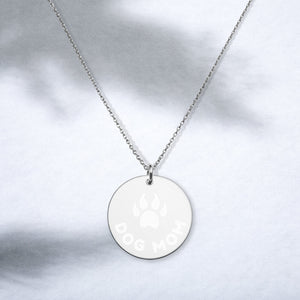 Dog Mom Sterling Silver Disc Necklace Engraved with Pet Paw - vauus