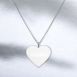 Engaged Heart Necklace Engraved Sterling Silver Engagement Jewelry - vauus