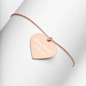 Mom Always With Me Heart Necklace Engraved in Rose Gold Remembrance Jewelry - vauus
