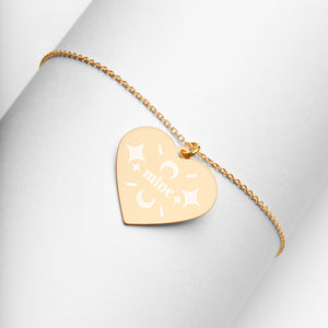 Mine Gold Heart Necklace Engraved Jewelry Gift for Girlfriend or Wife - vauus