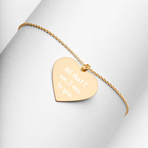 All that I am I owe to You Engraved Gold Heart Necklace Thank You Jewelry - vauus