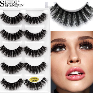 5 PAIRS EYELASHES 3D MINK LASHES NATURAL LONG